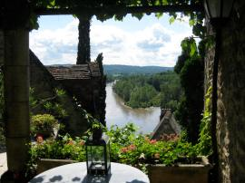 View of Dordogne from terrace, Beynac apartment
