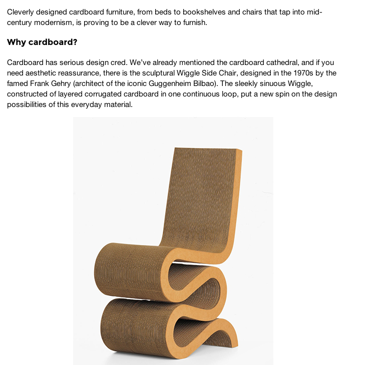 Out Of The Box Cardboard Furniture Margaret Barca